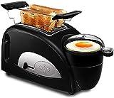 Appareils Électroménagers 2-in-1 Grille-pain, petit déjeuner Maker, multi-fonction Grille-pain de la famille en acier inoxydable Four électrique Grille-pain 2 tranches avec Mini antiadhésifs Pot Egg c