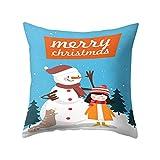 SpirWoRchlan Housse de coussin de Noël Motif sapin de Noël, bonhomme de neige, élan