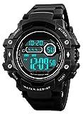 RSVOM Montre numérique pour Hommes, 50M imperméable Hommes Militaire Montres de Sport avec 12/24 Heures/Alarme/chronomètre, électronique Montres Bracelet pour Hommes Noir