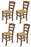 Tommychairs - Set 4 chaises Cuore pour Cuisine, Bar et Salle à Manger, Robuste Structure en Bois de hêtre peindré en Couleur Noyer Clair et Assise en Paille
