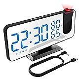 XDHEK Réveil à Projection, Réveil numérique de Chevet avec projecteur, Radio-réveil FM, Double réveil 12 / 24H avec Port USB, réveil Multifonctionnel avec thermomètre à humidité pour Chambre, Salon