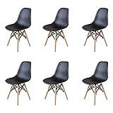 GrandCA Home Ensemble de 4/6 chaises, Design Bois Chaise de Salle à Manger, Chaise de Bureau, Chaise de Salon (Noir-6)