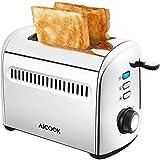 AICOOK Grille Pain Inox 950W - 2 Large Fente Toaster Vintage 7 Niveaux de Brunissage Avec Fonctions de Décongelation, de Chauffage et Annulation