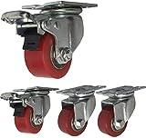 WQL 4 roulettes Fortes Charges roulettes industrielles 40 mm 50 mm roulettes pivotantes à Plaque PU silencieuse 1000 kg avec Support en Acier pour freins-2inch 2brake+2swivle