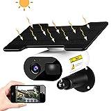 Caméra de surveillance solaire 1080p HD Caméra de Surveillance Extérieur 10000mAh Batterie Rechargeable 2.4G WiFi Caméra IP étanche avec Vision Nocturne pour la sécurité à la maison (Noir)