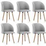 WOLTU Lot de 6 Chaise de Salle à Manger Chaise de Loisir rembourrée Assise en Lin, Gris Clair, BH120hgr-6