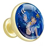 Anime Blue Mermaid Girl 01 Bouton De Meuble En Métal Doré Avec Poignée Ronde 4 Commode Penderie Tiroir Avec Poignée De Cuisine Avec Vis 32x30x17mm