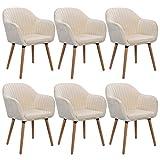 WOLTU 6 X Chaises de Salle à Manger Chaise de Cuisine Crème Blanc,Chaises de Chambre Chaise de réunion en Velours et Bois Massif BH95cm-6