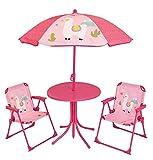 FUN HOUSE 713141 Lola Le Lama Salon de Jardin avec 1 Table, 2 Chaises pliantes et 1 Parasol pour Enfant