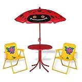 Deuba Ensemble 2 Chaises et 1 Table pour Enfant avec Parasol Ajustable Camping extérieur terrasse Balcon