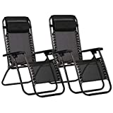 Havnyt Zero Gravity Lot de 2 chaises longues inclinables Noir