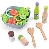 PPuujia Jeu de simulation de cuisine en bois - Jouets éducatifs pour les enfants - Ensemble de jeu pour la salade, rôtissement, grille-pain, gaufré - Cadeau pour filles (couleur : salade)