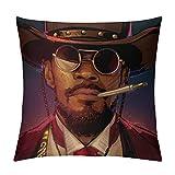 JKLM Django Unchained Art Movies Housse de coussin personnalisée en velours d'un côté pour décoration de maison, voiture, canapé, 61 x 61 cm