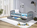 LULU MÖBEL LUKAS Lit pour enfant 160 x 80 cm | Lit pour enfant avec matelas | Sommier à lattes et tiroir | pour enfants à partir de 2 ans | Lit fonctionnel pour chambre d'enfant | Gris