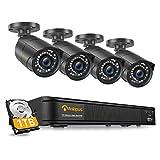 Anlapus H.265+ PoE 1080P Kit Caméra Surveillance 2.0MP avec 1TB NVR Enregistreur 8CH en 1080P Caméra Extérieure IP67 Accès à Distance Alerte Instantanée App Gratuite 30M Vision Nocturne