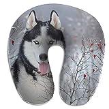 tyui7 Husky Dog Blue Eyes Winter Oreiller en Forme de U Oreiller en Mousse à mémoire de Cou pour Le Voyage et Le soulagement de la Douleur au Cou Oreillers cervicaux Confortables