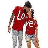 Tee Shirt Couple Love Impression Lettre Homme Femme T Shirt à Col Rond Top à Manches Courtes