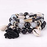 LIIYANN Neutre Multicouche Perle Bracelet chaîne de métal Femmes Weave Ethnique Wristband Peach Bracelet en Perles (Couleur: B) Cadeau
