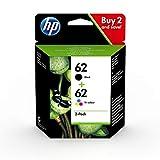 HP 62 Pack de 2 Cartouches d'Encre Noire et Trois Couleurs Authentiques (N9J71AE)