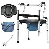 Cadre de marche ultra étroit avec siège, réglable en hauteur à 8 vitesses Chaise de canne à double accoudoir Aide à la mobilité Accessoires de fauteuil roulant,WalkingFrameA