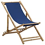 Bigto Chaise longue d'extérieur en bambou et toile Bleu marine 60 x (108-123) x (62-93) cm