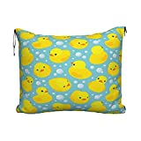 Oreiller de Voyage Couverture Happy Baby Rubber Duck and Bubbles Travel Blanket Pillow Set for Extra Comfort Portable with Luggage Strap Perfect for Airplane Train Camping Car Or Office