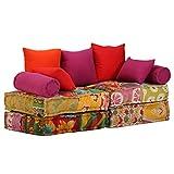vidaXL Pouf Modulaire à 2 Places Tissu Patchwork Sofa Canapé de Salon Maison