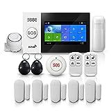 PGST Alarme Maison Sans Fil, Système de sécurité domestique PG-107, écran tactile de 4,3 pouces WiFi + 2G + GPRS , alarme antivol à distance, sirène intelligente pour la maison (système d'alarme GSM)