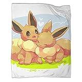 Couverture élégante et confortable - Motif Pokémon Eevee - Pour superposer n'importe quel lit ou canapé - 80 x 100 cm