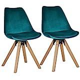 Duhome Chaise Salle à Manger Lot de 2 avec Coussin Design Retro Chaise scandinave avec Pieds en Bois WY-518M, Couleur:Vert Bleu, matière:Velours