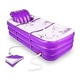 Baignoire gonflable portable pour le spa pour adultes et le bain chaud et le bain de glace - Pliable - Avec coussin de siège amovible (violet)