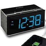 Radio-réveil avec Haut-parleurs stéréo sans Fil Bluetooth, Radio FM numérique, Double Alarme avec Fonction Snooze, gradateur Automatique, Fonction de Charge USB pour téléphone Portable (CKS3501BT)