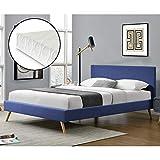 Lit Rembourré Moderne Solide avec Sommier à Lattes Matelas à Mousse à Froid Lit Double Robuste Confortable Housse en Lin 200 x 160 cm Bleu