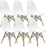 Muebles Lot de 6 chaises de salle à manger modernes en plastique avec pieds en bois pour salle à manger, chambre à coucher, salon