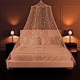 Moustiquaire de Lit SZHTFX Auvent de Lit Lumineuse Étoiles Ciel de Lit Grande Dome Moustiquaire lit Double pour sans Poinçon , Princesse Tente de Bébé Fille Enfant Adulte, Lit Limple au Lit King Size