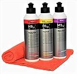 Koch Chemie Kit de polissage avec produit de polissage Heavy Cut + pâte abrasive Fine Cut + polish de micropolissage Micro Cut & Finish avec chiffon microfibre MC