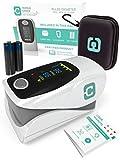 TrypleCheck Oxymetre de Doigt Portable Certifié Qui Mesure Oxygene dans Le Sang, Oxymetre de Pouls avec Lecture Immédiate de la SpO2, du RPM et du %PI, Saturometre Doigt Professionnel avec Alarme