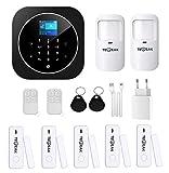 TecPeak Kit d'alarme domestique sans fil, Wi-Fi/GSM avec sécurité sirène fournit un moyen très efficace pour protéger votre maison et votre bureau (A1 Noir)