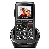 artfone C1+ Téléphone Portable Senior Débloqué avec Grandes Touches | Bouton SOS | Radio FM | Haut-Parleur de Boîte | Batterie 1400mAh | Lampe Torche et Station de Charge, Noir