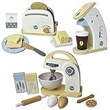 Meppi Appliances Set Grille-Pain / cafetière / mixeur en Bois pour la Cuisine des Enfants / Cuisine ludique