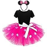 Lito Angels Deguisement Robe Minnie Mouse Bebe Fille, Anniversaire Fete Halloween Carnaval, avec Oreilles de Souris Serre-tete, Taille 12-18 mois, Rose Chaud (étiquette en tissu 80)