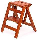 Échelle en bois Dépôt de ménage pliant à 2 étapes échelle multifonction steelle tabouret chaise d'escalier d'escalier d'intérieur bois massif multiples occasions, noyer léger, nom de couleur: couleur
