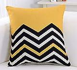Housse de coussin géométrique jaune Zick Zack imprimé canapé déco housse de coussin décorative