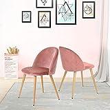 Lot de 2 chaises de salle à manger en velours capitonné avec dossier et pieds en métal pour salle à manger, salon et chambre à coucher, Velours tissu, rose, 46*46*77cm