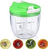 Andra Mini hachoir manuel à légumes avec broyeur et mixeur professionnel avec lame de coupe compacte et professionnelle de cuisine sans bruit
