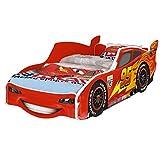 iGlobal Zig Zag Lightning McQueen Cars 3 Lit de voiture pour enfant avec sommier à lattes 160 x 80 cm (160 x 80 cm No Mattress)