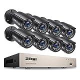 ZOSI H.265+ 5MP Lite DVR avec 2MP Caméra de Surveillance Extérieure IP66, Vision Nocturne de 80 Pieds, APP Gratuite pour Accès à Distance par Smartphone Disque Dur Non fourni