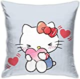 By Hello Kitty Housse de coussin carrée en velours doux avec fermeture éclair dissimulée pour canapé, salon, décoration d'intérieur (45,7 x 45,7 cm)