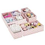 mDesign boîte de rangement tissu (lot de 5) pour chambre d'enfant – panier de rangement tissu pour accessoires de bébé et couches – rangement jouets avec plusieurs compartiments – rose clair et blanc