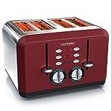Arendo - Grille-pain 4 Fentes - 1630 W - acier inoxydable - jusqu'à quatre tranches de pain de mie - 6 Niveaux de brunissage - Fonction réchauffage et décongélation - Retro Design Rouge